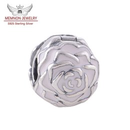 charm clip lock Coupons - Memnon Jewery Pink Enamel Rose Garden Flower Lock Clip Core Stopper Beads charm Diy Accessories 925 Sterling Silver Flower Charms KT081-N