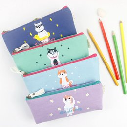 Wholesale Kawaii Makeup Bag - Wholesale- Z37 Kawaii Cute Canvas Lovely Dog Pen Bag Case Holder Storage Pencil School Supply Cosmetic Makeup Travel