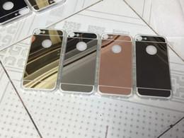 Wholesale Iphone 5s Aluminium - 2017 New arrival!Luxury Mirror Gold Metal Aluminium Bumper Hybrid Hard Phone Back Case Cover for iPhone 7 7plus 6 5s 5 iphone 6 plus 100pcs