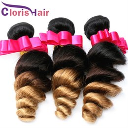 Wholesale Wholesale Milky Way Weave - Milky Way 8A Malaysian Virgin Ombre Weave Human Hair Bundles Loose Curly Wave 1B 4 27 Three Tone Colored Hair Extensions 3 Pieces