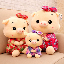Wholesale Mini Doll Dress - Cute Mini Size 20Cm Kimono Pig toys wedding gift baby plush toys kids Dressed pig cloth doll stuffed plush animals birthday gift