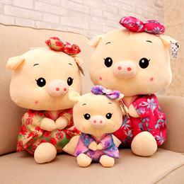 Wholesale Dolls Wedding Dresses Wholesale - Cute Mini Size 20Cm Kimono Pig toys wedding gift baby plush toys kids Dressed pig cloth doll stuffed plush animals birthday gift