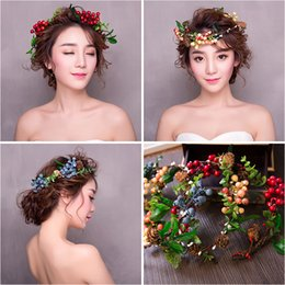 Wholesale Mori Wedding - Colorful Fruit Mori Style Headpieces for Bridal Vintage Wedding Accessories Boho Summer Beach Girls Hairpins chapeau mariee