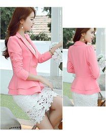 Wholesale Blue Woman Blazer - Ladies Blazers Womens Business Suit Single Button Blazer Women Suit Jacket Black  bule pink Blaser Female Plus Size Blazer Femme