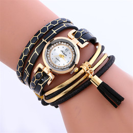 Wholesale Snake Skin Leather Wholesale - Snake skin bands bracelet leather bracelets watch Fashion women wave wrap watches ladies Tassel pendant diamond rope dress quartz wristwatch