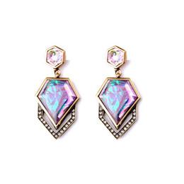Wholesale Dangle Charm Alphabet - Fashion Wholesale Costume Jewelry Charm Colorful Rhombus Gemstone Big Drop Dangle Earrings Gift for Women Pendientes