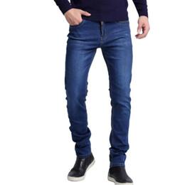 Jeans reta alta cintura homens on-line-Calças de brim dos homens Novos Homens da Moda Calça Jeans Casual Fino Em Linha Reta Alta Elasticidade Pés Calças de Brim Cintura Solta Calças Compridas venda quente