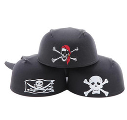 Wholesale Fun Halloween Costumes - Fancy Dress Skull Pirate Captain Hat head scarf cap Party Halloween Costume Dress Up Hat For Fun Pirate Cosplay black