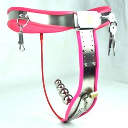 Wholesale Steel Female Chastity Belts - 1 sets Female Adjustable Curve-T Stainless Steel Chastity Belt Locking Cover Removable Vaginal Plug PINK color