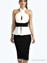 Wholesale Bodycon Peplum Dress Plus Size - Plus Size Classic Black White Patchwork Bodycon Party Dress New Design Bare Shoulder Cross Ruffled Pencil Dress Office Lady Work Wear N219