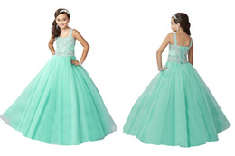 Wholesale Girls Pageant Dresses Mint - Mint Straps Rhinestones Custom Made Little Girls Pageant Dresses Beads Crystal Princess Children Birthday Party Ball Gowns Formal Wear