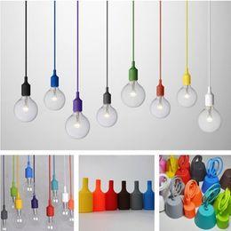 Wholesale Transparent Silica Gel - Muuto Pendent Light Multicolour Silica Gel Lamp Holder 10 Colors Pendant Light Diy Lamps Light Bulb Pendant Lamp Bar Lamp