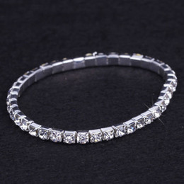 Wholesale Box Chain Bracelet - 24 pieces Lot Wedding Bridal Jewelry Elastic Crystal Rhinestone Stretch Silver Womens Bracelet Bangle Wholesale Wedding Accessories