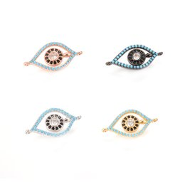 Wholesale Evil Eye Gold Plated - 4 Colors Newest ECO-Friendly Evil Eye Shape Micro Pave Charm, CZ Connector, ICSP053, 22.9*11.9mm