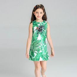 Wholesale Banana Boats - Vest Dress for Girls Sleeveless A-Line Hand Pinned Jacquard Dress European Style Green Banana Leaf Printing Kids Clothing