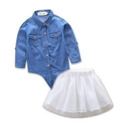 Wholesale Blouse Skirt Set - 2017 Family Matching Outfits Mother And Daughter Summer Denim Clothing Sets Girls Blouse TUTU Skirts Kids Parent Child Cotton Outfits