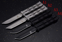 Wholesale New Tanto Knife - New JL Butterfly balisong Tanto Clip point 420C blade metal handle camping survival TACTICAL knife knives Benchmade BM42 BM43 BM47 BM40