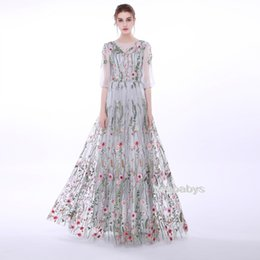 Wholesale Simple Floral Prom Dresses - 2017 Embroidered Floral 3 4 Sleeves See Through Prom Dress Semi-Formal Evening Gowns.