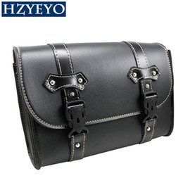 Wholesale Honda Saddle Bags - HZYEYO Motorcycle Saddlebag PU Faux Leather Bag Sissy Bar Bags Storage Tool Pouch For Honda Shadow D815 ,free shippping