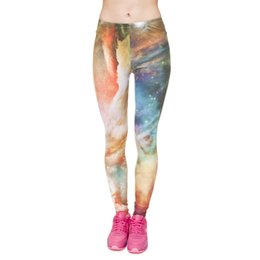 Wholesale Mulheres Leggings Laranja Azul Galaxy Rainbow D Impressão Gráfica Estiramento Apertado Capris Yoga Desgaste Calças Ginásio Calças Padrão Colorido J31175