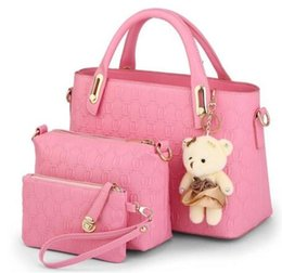 Wholesale Messenger Pieces - Free shipping High Quality Women Handbags Messenger Bags Ladies Shoulder Bags 3 Pieces 1Set With Bear