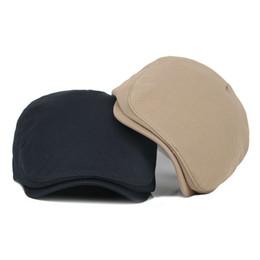 Wholesale Vintage Mens Flat Caps - Wholesale-Brand Fashion Vintage Solid Summer Sun Hats for Men Women High Quality Casual Cotton Women Beret Caps Mens Flat hat