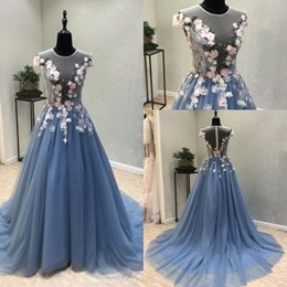 Wholesale design flower evening dress - New Design Blue Prom Dresses 2018 Sheer Neckline Cap Sleeve Handmade Flowers Sweep Train Real Images Pageant Party Evening Gowns Cheap