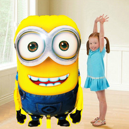 Wholesale Girls Inflatable - 92*65cm Large Size Despicable Me 2 Foil Balloon Cartoon Minions Inflatable Ballons Kid Girl Boy Birthday Party Decoration Baloon