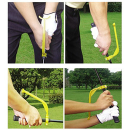Wholesale Golf Alignment Training Aids - Wholesale- 2PCS lot Golf Practice Plane Swing Guide Trainer Training Wrist Correct Aid Tool Gesture Alignment Club, Free Shipping ^d1^