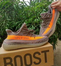 Wholesale Zebra High Boots - High Quality Mens Womens 350 V2 boost Zebra Grey Orange Shoe Running Shoes Boots Sneakers Black Red 350 v2 Sports Shoes Original box + Socks