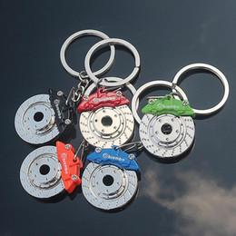 Wholesale Brake Key Chain - Creative gift brakes wheel hub caliper metal key holder car modification disc brakes key chain KR102 Keychains mix order 20 pieces a lot