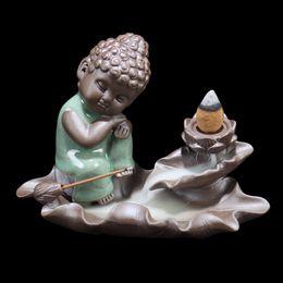 Wholesale Lotus Ceramics - Wholesale Ceramic Tathagata Pottery Lotus Base Backflow Incense Burner Home Decor Air Fresheners Stick Incense Holder