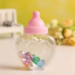 Wholesale Baby Arrival Favors - New Arrivals-24pcs lot Baby Bottle Candy Box Baby Feeding Bottle Baby Shower Baptism Gifts Box Wedding Favors Party Supplies