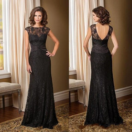 Wholesale Silver Full Length Evening Gown - 2017 Black Lace Mother of Bride Groom Dresses Capped Zipper Backless Full Length Jade Couture Plus Size Women Formal Evening Gowns