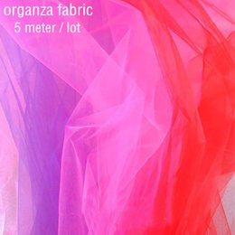 Wholesale Organza For Background - organza fabric (5 meters   lot) crystal yarn organdy fabric shine bright 20gsm meter for wedding decorative background flower
