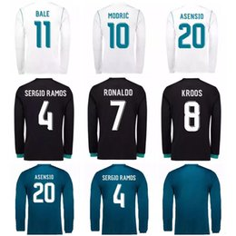 Wholesale Cheap Long Sleeve Soccer Jerseys - Cheap Thailand Long sleeve soccer jersey Camisa Real madrid Jersey 17 18 RONALDO SERGIO RAMOS ISCO MODRIC madrid jersey 2018 football shirt