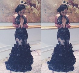 Wholesale Pageant Dresses White Women - 2017 Sexy Mermaid Black Lace Evening Dresses Sexy Keyhole Neck Backless Flouncing Ruffles Prom Party Gowns 2016 Arabic Women Pageant Runway