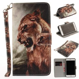Wholesale Tiger Iphone Flip Case - New Animal tiger dog Leather Case for iphone 7 7 plus 5 5S 6 6S Stand Flip Wallet Case Cover Bag Housing Cover