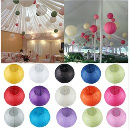 Wholesale Decoration Lights For House - Many Colors Paper Ball Chinese Paper Lanterns For Party and Wedding Decoration Hang Paper Lanterns 20cm 25cm 30cm 35cm
