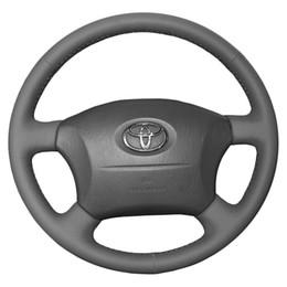 Toyota leder lenkrad abdeckung online-Lenkrad deckt Fall für Toyota Land Cruiser Prado alte Modelle aus echtem Leder DIY Hand-stitch Car styling Innendekoration