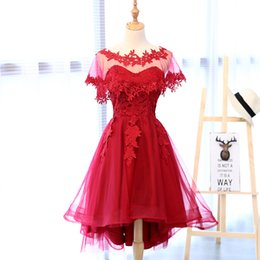 Wholesale Mini Quinceanera Dresses - Real Photo In Stok Red Lace Sweetheart With Veil Asymmetrical Off The Shoulder Tea-Length Evening Dress Short Vestidos De Gala