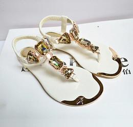 Wholesale Open Toe Diamond Ankle Shoes - Summer 2017 new sandals diamond shoes folder toe flip flops metal shoes sandals 35-42 yards