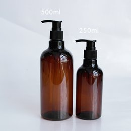 Wholesale Brown Shampoo - Wholesale- 250ml 500ml Brown Bottle Hydrosol Shampoo Bottling Factory Wholesale Division Empty Plastic Cosmetic Bottle Package