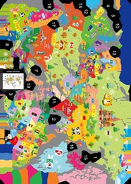 Wholesale New XL7123 cartoon animal map wall stickers topic Hello I am a child room sticker PVC can be removed
