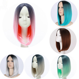 Wholesale Popular Bob - Z&F Popular Style 30CM Ombre Shot Bob Wigs Straight Synthetic Hair Wigs for Women Party Cosplay Natural Wigs