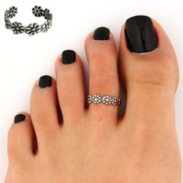 Wholesale Band Nice - Foot Jewelry Beach Jewelry Vogue Adjustable Nice Chic Simple Silver Tone Retro Flower Summer Beach Toe Ring