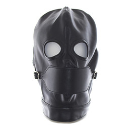 Wholesale Spandex Hood Mouth Opening - Faux Leather Latex Fetish Mask Open Mouth Sexy Mask Spandex Head Bondage Hood Sexy Costumes Erotic Toys Black Red 2017 Hot New