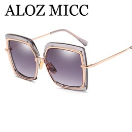 c1a3f476608 ALOZ MICC Fashion Semi-frame Square Sunglasses Women Alloy Big Frame  Colorful Sun Glasses Men Mirror Eyeglasses A434