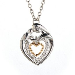 Wholesale Double Heart Crystal Necklace - Double Crystal Heart Mom and Son Love Necklace Silver Plated Love pendants for Women Kids fashion Jewelry
