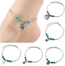 Wholesale christmas tree chain - 6 Styles Bohemian Turquoise Anklets Women Beach Foot Chains Cross Tree Turtles Conch Fatima's Hand Anklet For Ladies Fashion Jewelry